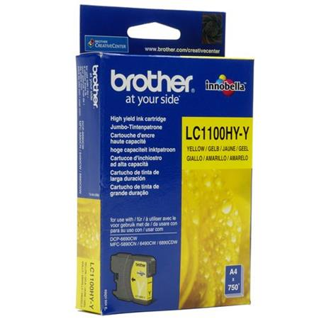 Image of   Brother LC1100 XL Y(LC-1100HYY) Gul blækpatron, Original (10,95 ml)