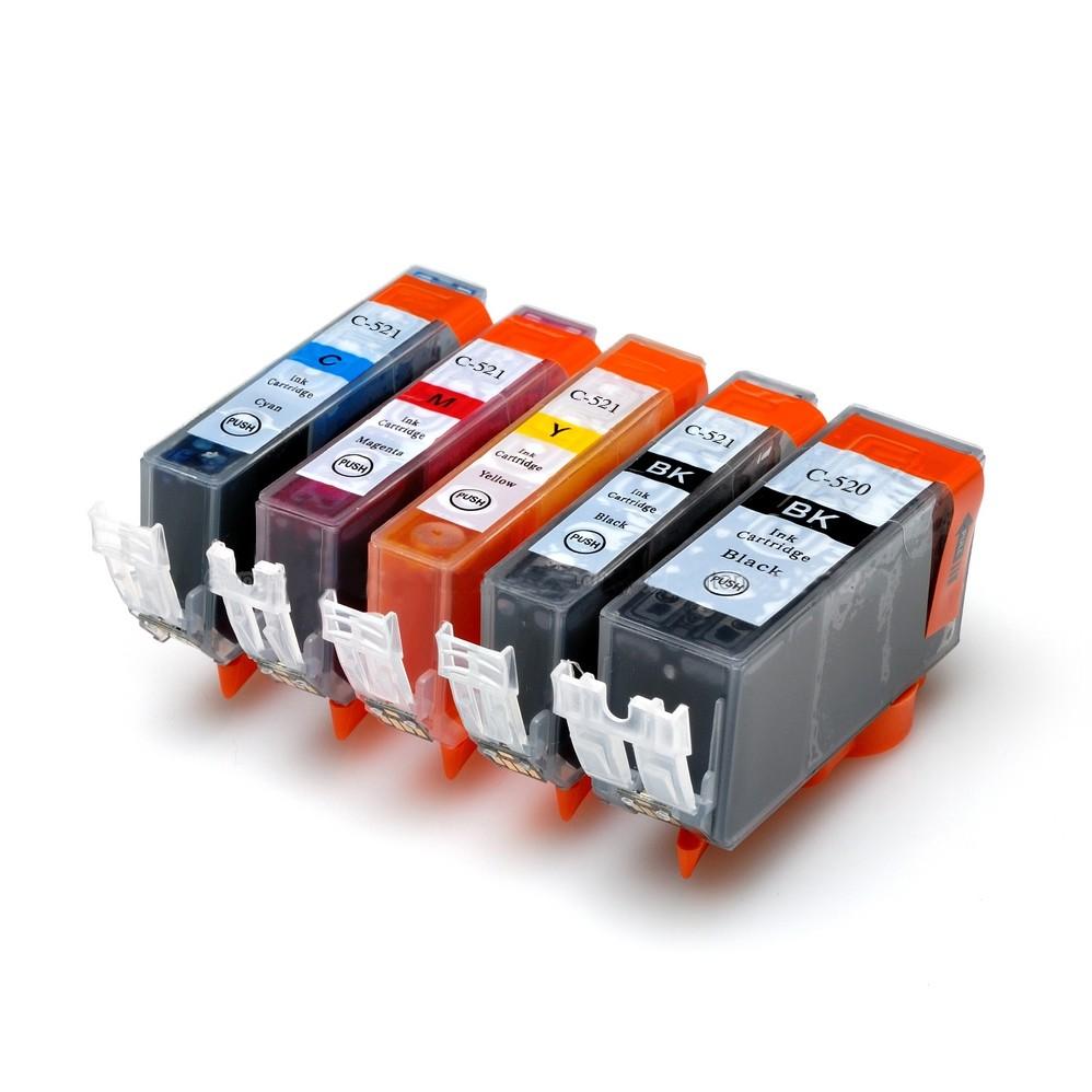 Canon PGI 520 CLI 521 Sampak 5 stk (1 stk sort 21 ml/ 1 stk sort / Cyan / magenta / gul 10,5 ml)