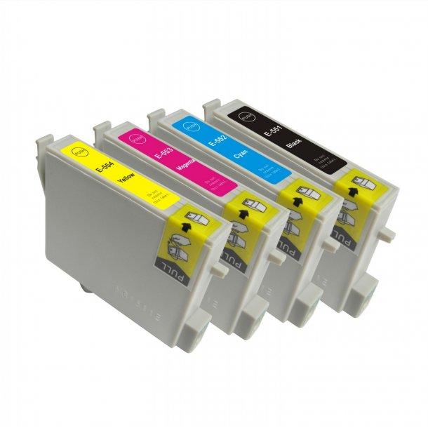 Epson T0551/T0552/T0553/T0554 combo pack 4 stk blækpatron BK/C/M/Y 72,8 ml