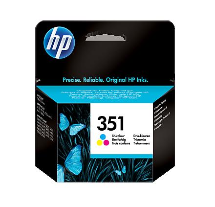 Image of   HP 351 CMY (CB337EE) med chip, 3 farve blækpatron, Original, 3, 5 ml