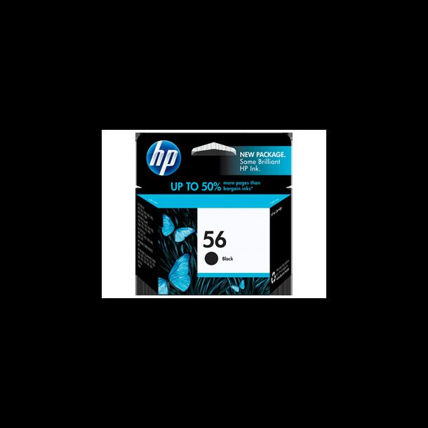 HP 56 BK (C6656AE) med chip, sort blækpatron,, 19ml
