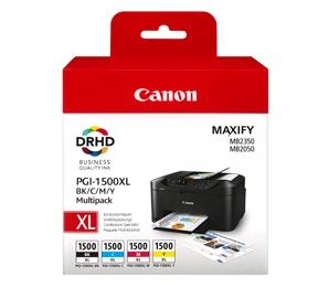 Canon PGI 1500 XL CMYK med chip, Sampak 4stk blækpatron, Original