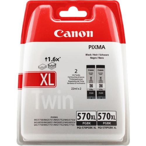 Canon PGI 570 XL BK, sort blækpatron sampak 2stk, Original, blistered