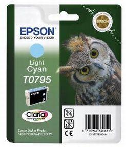 Epson T0795 LC (C13T07954010), Lys Cyan Blækpatron, Original