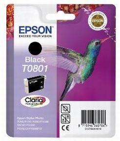 Epson T0801 BK (C13T08014011), Sort Blækpatron, Original
