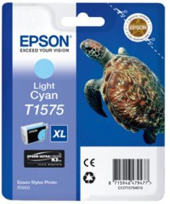 Epson T1575 LC (C13T15754010) Lys Cyan Blækpatron, Original 25,95ml