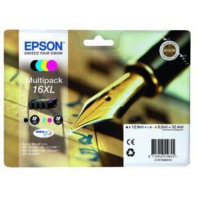 Epson T1636 CMYK (T1631/T1632/T1633/T1634) blækpatron, Sampak 4 stk, Original