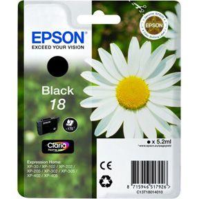 Epson T1801 BK (C13T18014012) Sort Blækpatron, Original 5,95ml