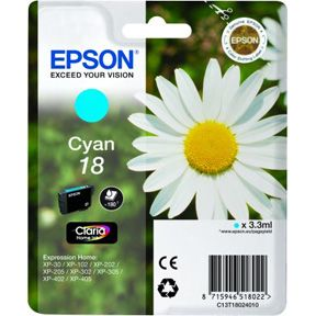 Epson T1802 C (C13T18024012) Cyan Blækpatron, Original 3,95ml