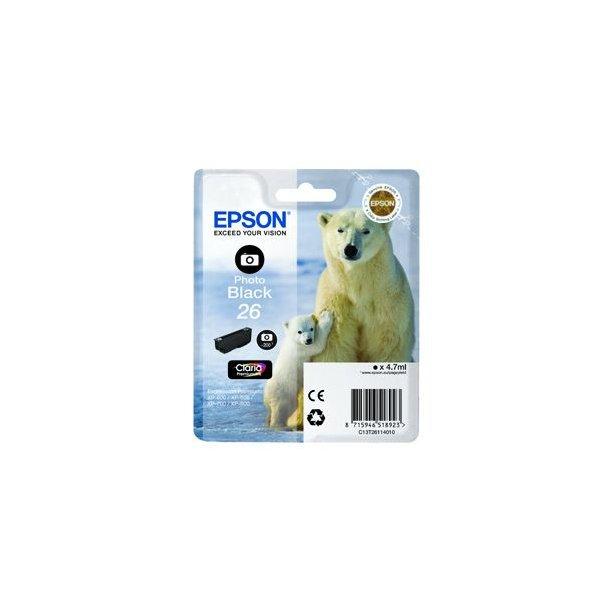 Epson 26 T2611 PBK – C13T26114012 – Foto Sort 4 ml