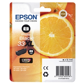 Epson 33XL T3361 PBK (C13T33614012) Foto Sort Blækpatron, Original 8,95ml