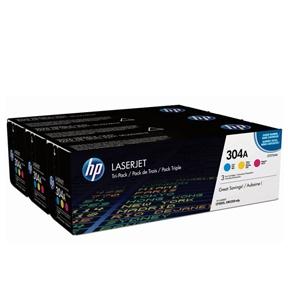 Image of   HP CC531A /CC532A/ CC533A CMY Lasertoner, Sampak 3 stk, Original