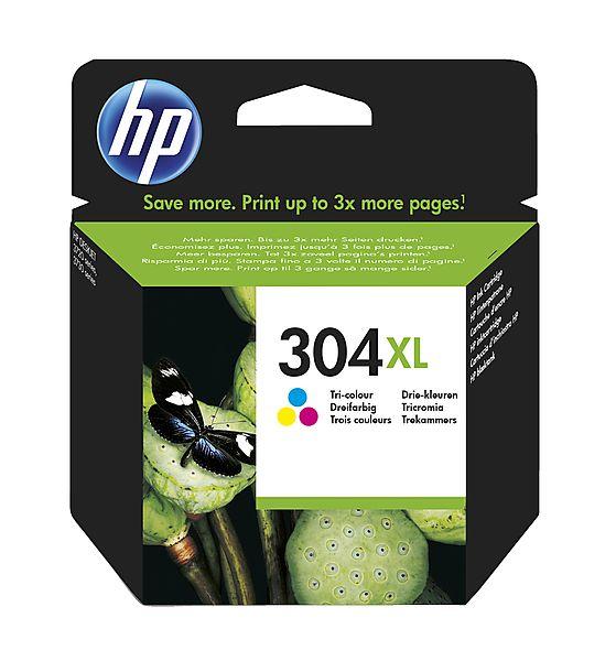 Image of   HP 304 XL C (FN9K07AE) med chip, farve blækpatron, Original 300 sider (7 ml)