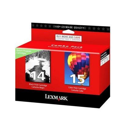 Image of   Lexmark 14/15 (LEX80D2979), Sampak 2 stk Blækpatron, Original