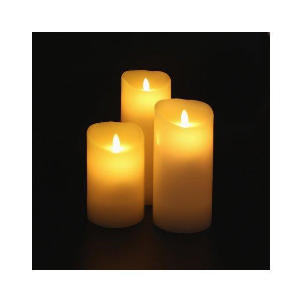 LED Stearinlys med levende flamme 18 cm