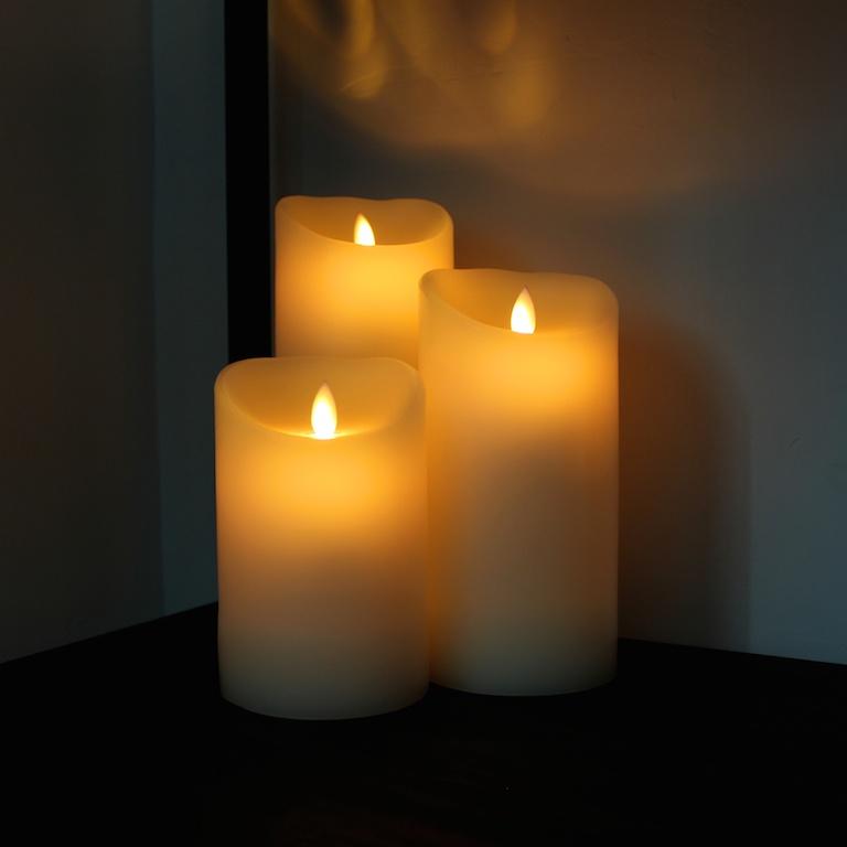 LED Stearinlys med levende flamme 23 cm