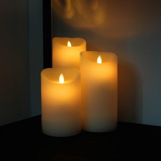LED Stearinlys med levende flamme sæt (2 stk) incl fjernbetjening