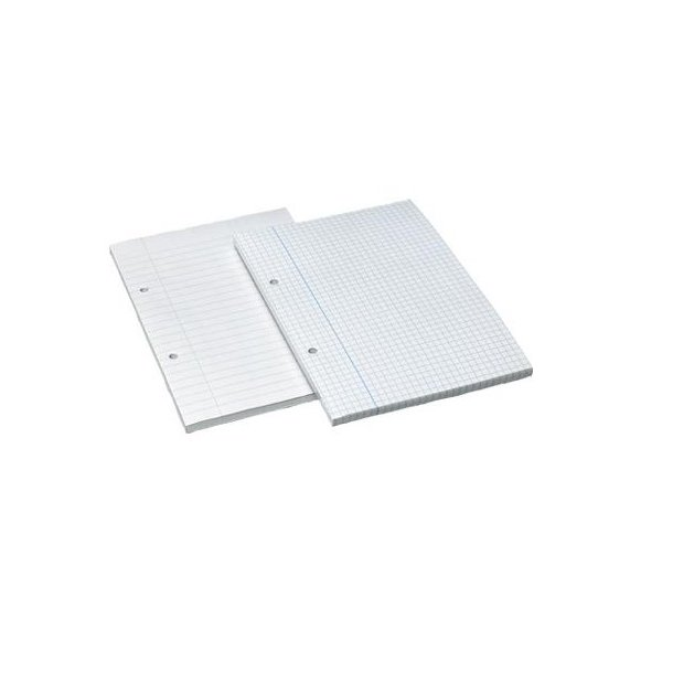 A5 Graph Paper Pads Sideglued 2 Hole Punched White