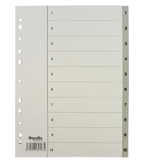 Image of   Register A4 NOA 1-10 grå PP m/forblad 10 sæt