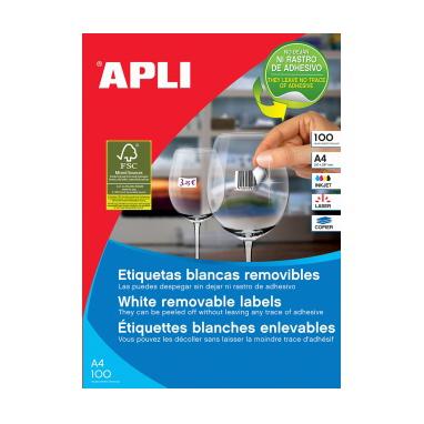 Image of   Apli multi-etiketter med aftagelig lim, 100 ark 210 x 297 mm
