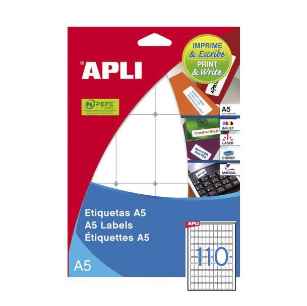 Image of   Apli etiket 12x18mm hvid, A5