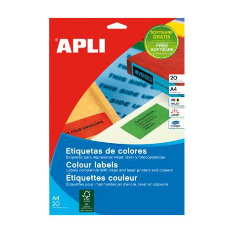 Image of   Apli etiketter- farverige, selvklæbende 20 ark 105 x 148 mm Blå