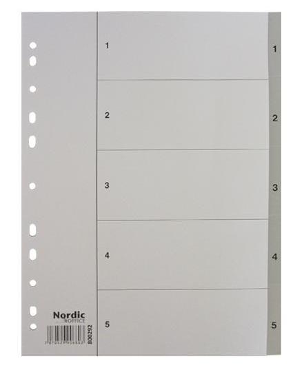 Image of   Register A4 NOA 1-5 grå PP m/forblad 10 sæt