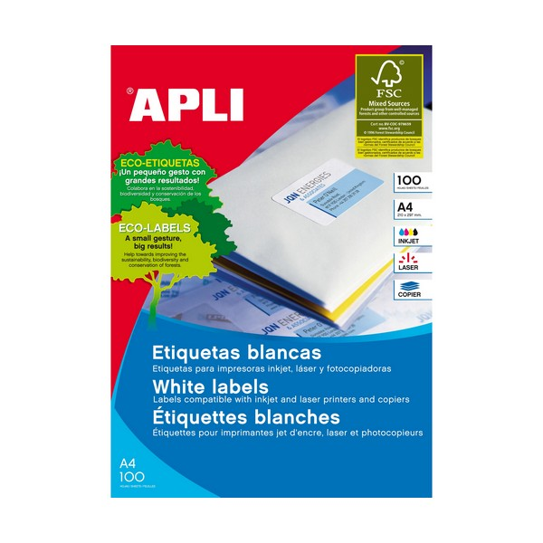 Image of   Apli multi-etiketter, Etiket Multi 100 ark 105 x 74 mm