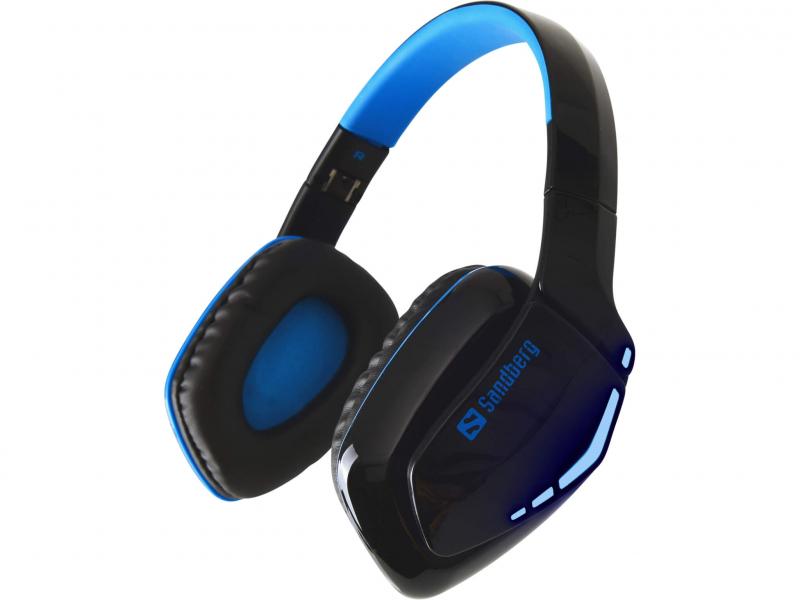Image of   Sandberg Blue Storm trådløs Headset Over-Ear, Sort/Blå