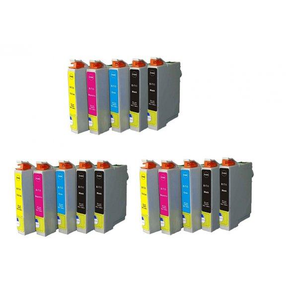 Epson T0711/T0891 T0712/T0892 T0713/T0893 T0714/T0894 combo pack 15 stk blækpatron BK/C/M/