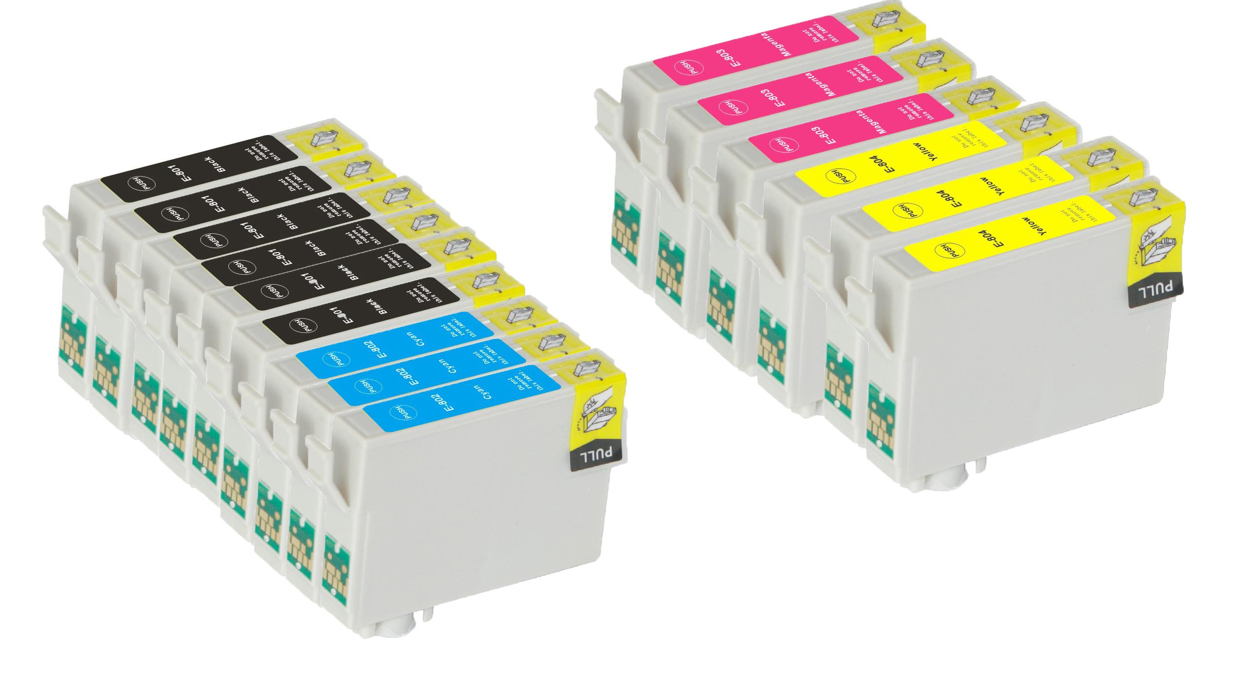 Kompatibel Epson T0801/T0802/T0803/T0804 combo pack 15 stk bläckpatron 211,5 ml