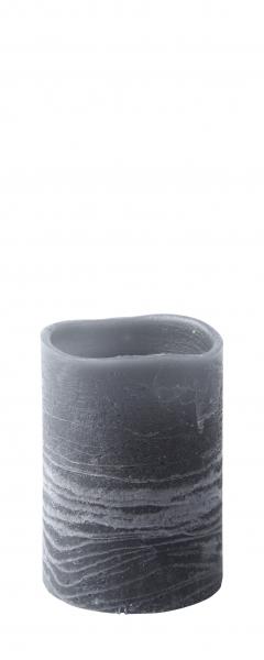 LED bloklys m. timer, Paraffin, Grå, Bovictus D 7,0cm - H 10,0cm
