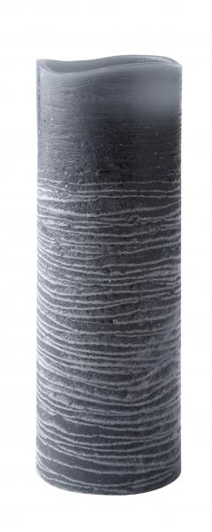 Image of   LED bloklys m. timer, Paraffin, Bovictus, Grå, D 7,0cm, H 20,0cm