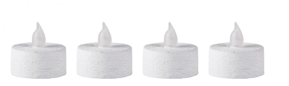 Image of   LED fyrfadslys, Plast, Hvid, Bovictus, D 3,8cm, H 3,8cm, 4 Stk.