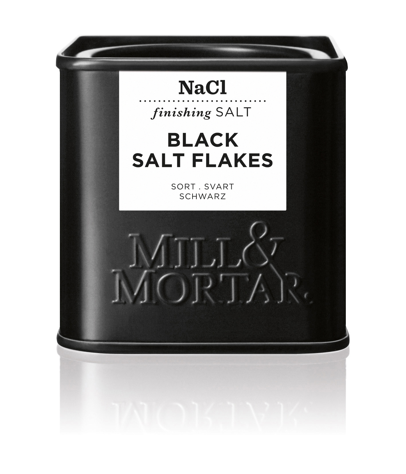 Mill & Mortar Sort Flagesalt 80 g dåse