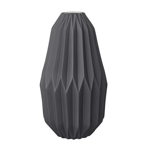 Image of   Bloomingville Riflet Vase - højde 19,5 cm (Mat sort keramik)