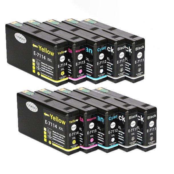 Epson T7111/T7112/T7113/T7114 combo pack 10 stk blækpatron BK/C/M/Y 496 ml