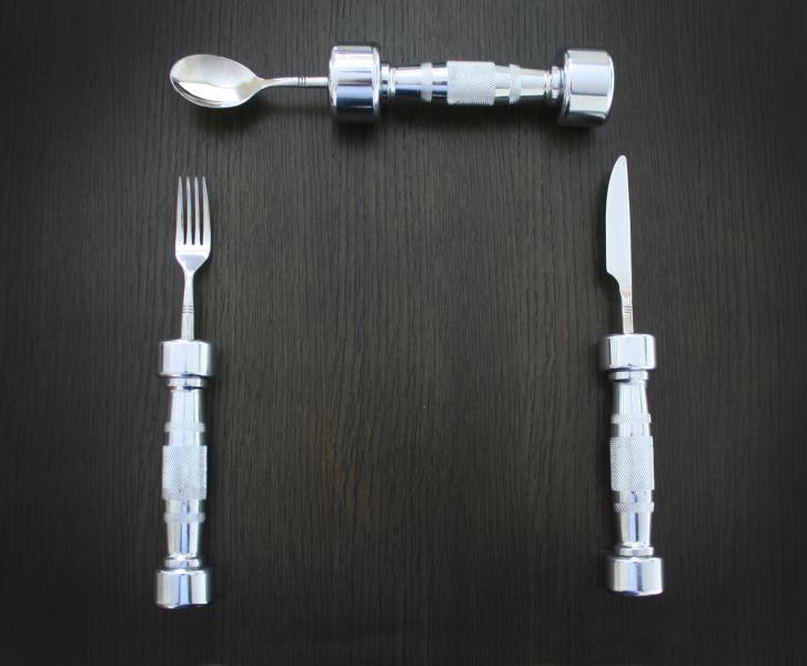 Image of   Eat Fit Dumb Bell Cutlery hele pakken