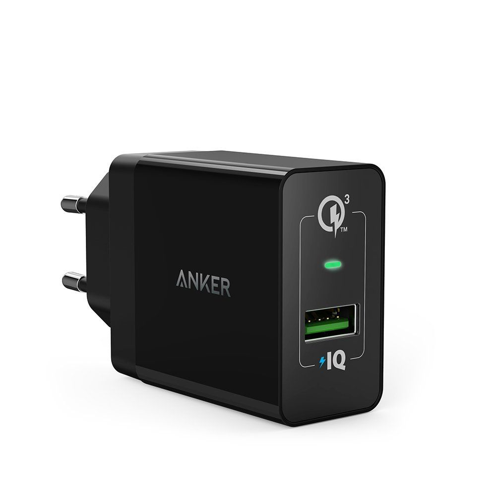 Image of Anker PowerPort+ 1 Quick Charge USB oplader 3.0, 0,9 m. Micro USB kabel, Sort