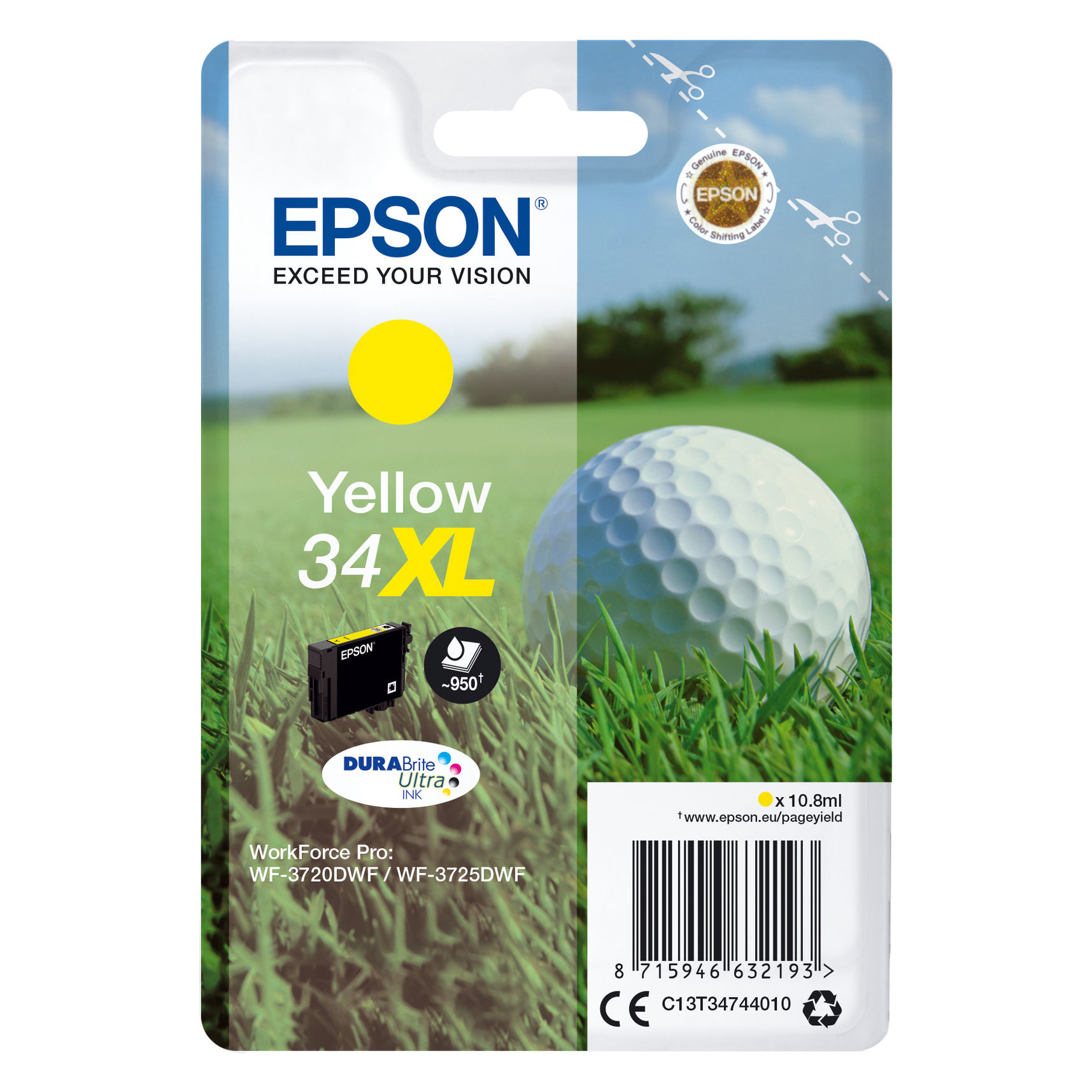 Epson T3474 XL Y w/alarm Original bläckpatron ( 10,8 ml)
