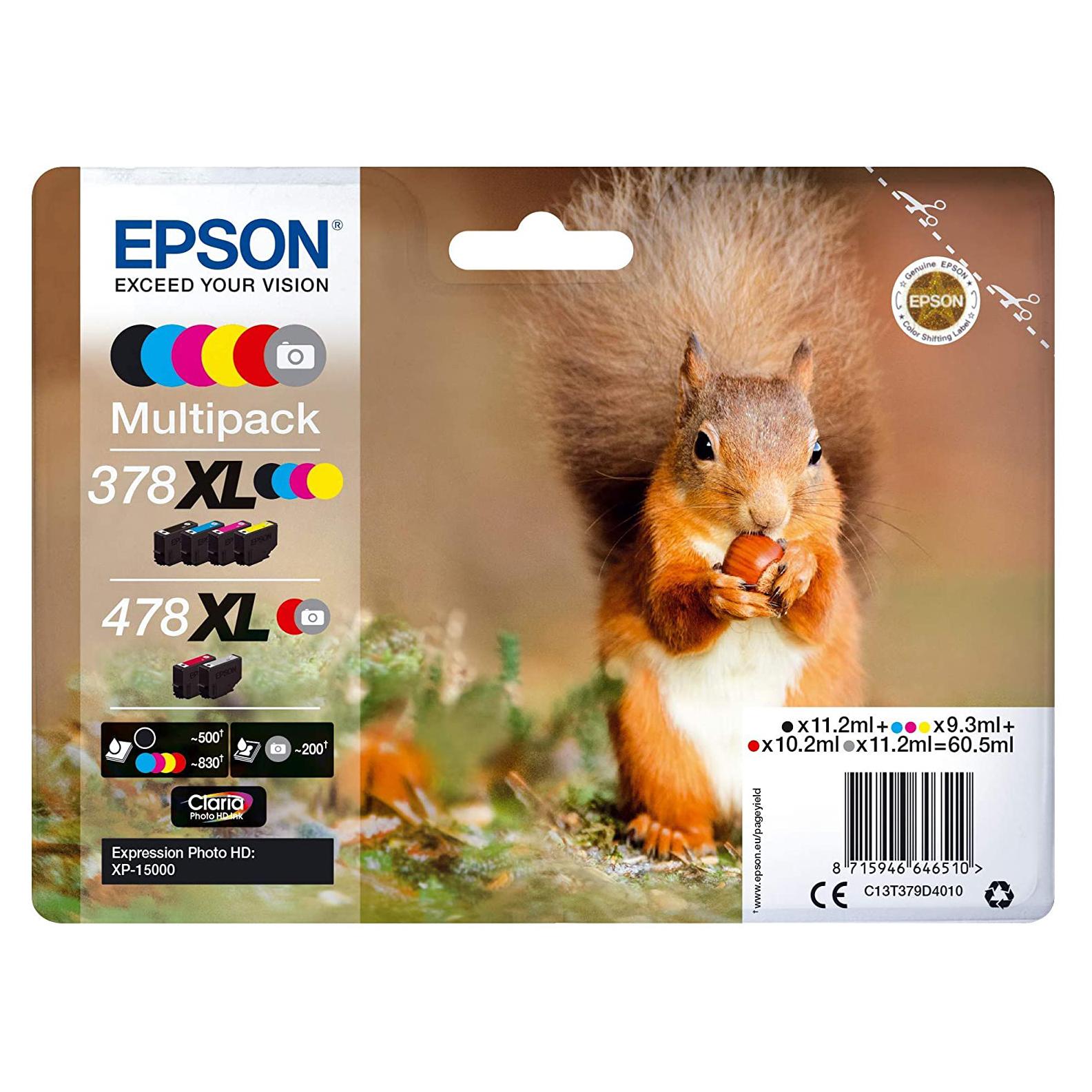 Epson T 478/378 XL combo pack 6 stk Original bläckpatron (60,5 ml)