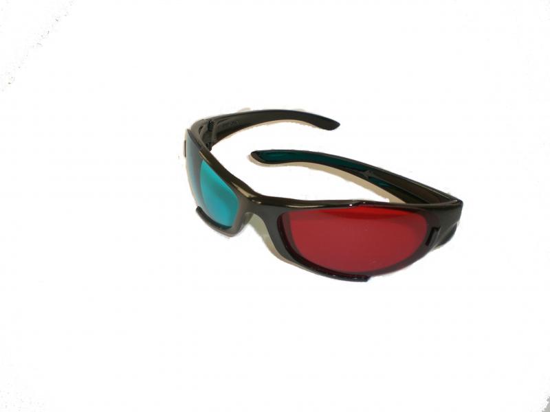 Image of   3D-Briller i plast - Magenta/Cyan (rød/blå) 3 stk.