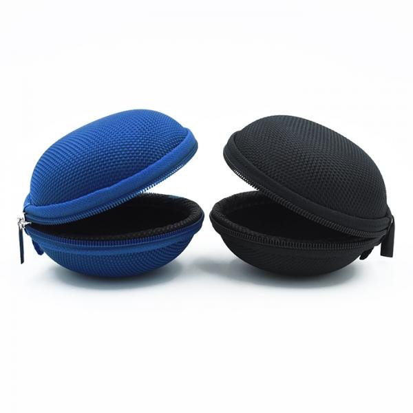 Image of   Opbevaringspung til høretelefoner og kabler, rund. Blå el. sort Blå