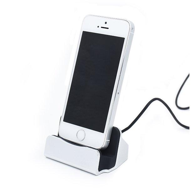 Charger + sync dock til Iphone, iPad og iPod Sølv