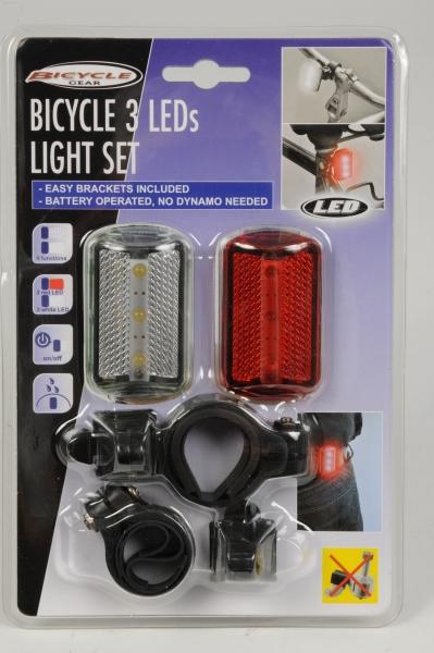 Cykellygter m. 3 LED-lys, sæt á to stk