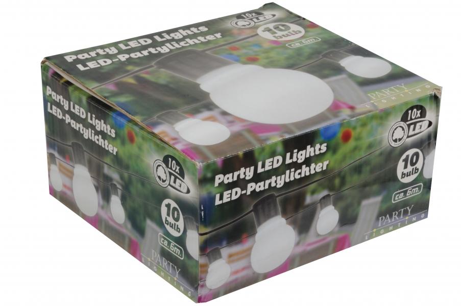 Image of   Party LED lights lyskæde, 10 hvide pærer, 10 LED