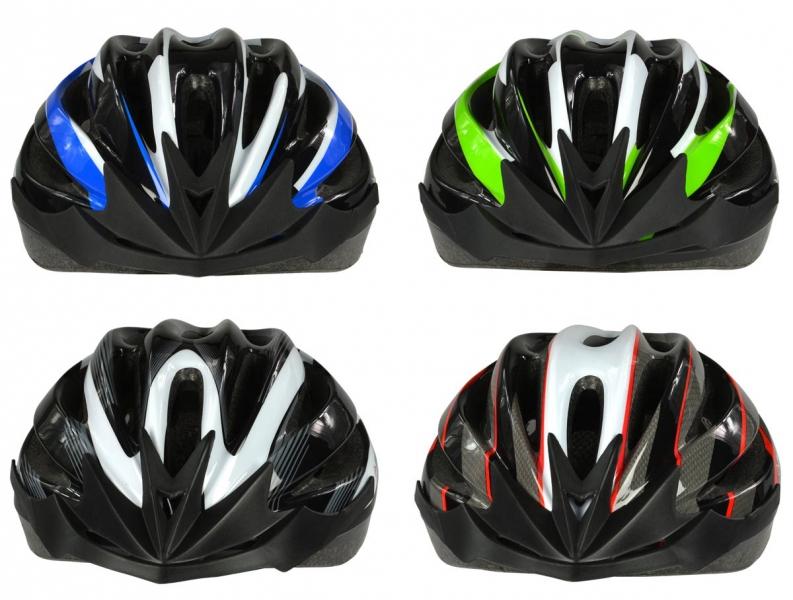 Dunlop Cykelhjelm, voksen, str L. 4 farver blå/hvid/sort