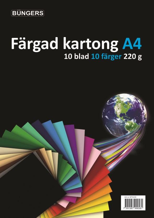 Image of   Büngers Farvet karton, 220 g, 10 ark, assorteret