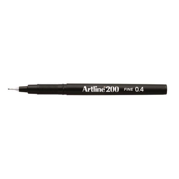 Artline Fineliner 200 Fine 0.4 svart, 12 st