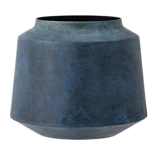 Image of   Bloomingville Vase, Blå, Metal Ø17xH15 cm
